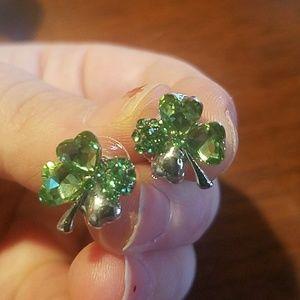 New crystal shamrock clover earrings